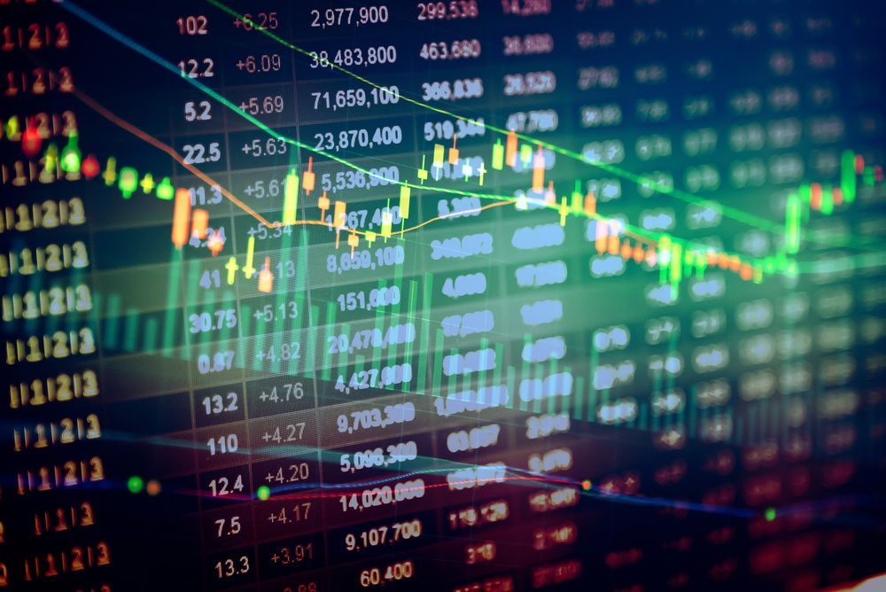 Börsenchart mit Aktienkursen Grafik