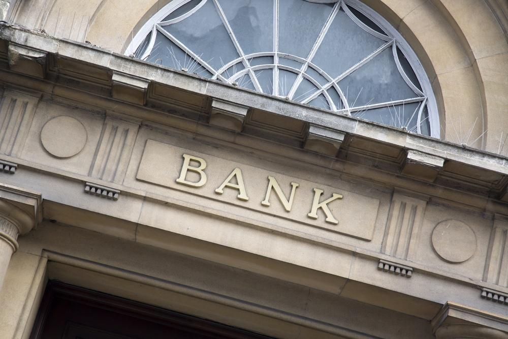 Eingang eines alten Bankgebäudes